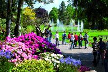 Wasserspiele und Rhododendronblüte (c) Weltvogelpark